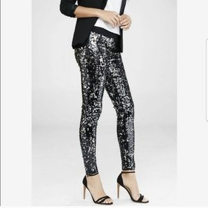 NWT Express Sequin Black Leggings Size Small